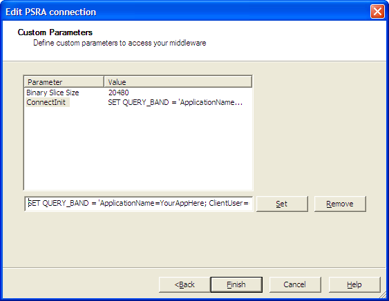 Screenshot of final parameter screen for Teradata connection in a Business Objects universe